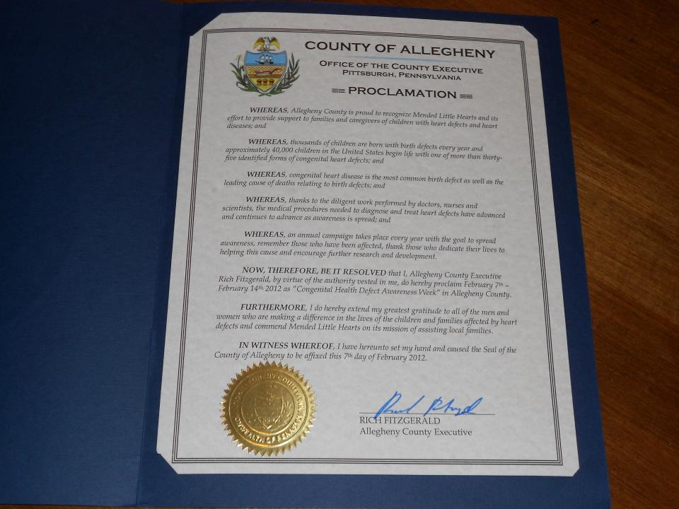 Allegheny County, Pennsylvania CHD Awareness Week Proclamation