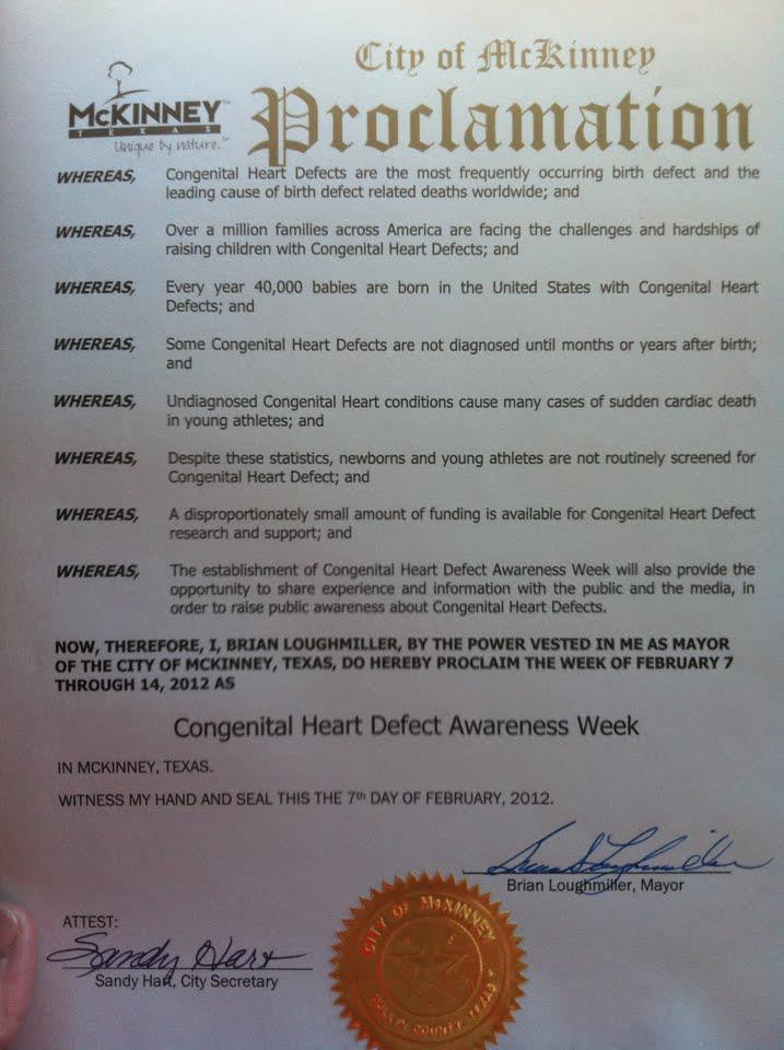 City of McKinney, Texas CHD Awareness Week Proclamation