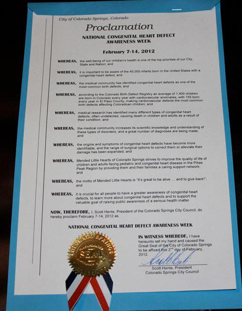 Colorado Springs, Co CHD Awareness Week Proclamation