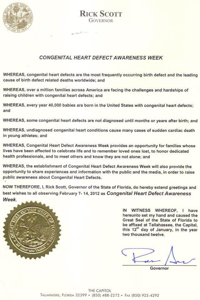 Florida CHD Awareness Week Proclamation