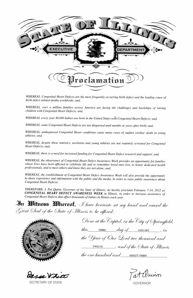 Illinois CHD Awareness Week Proclamation