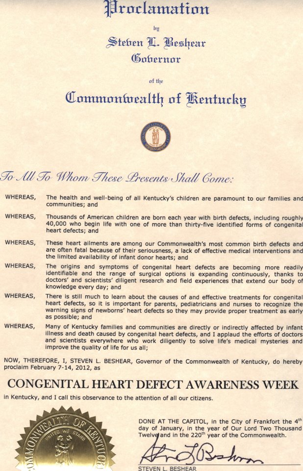 Kentucky CHD Awareness Week Proclamation