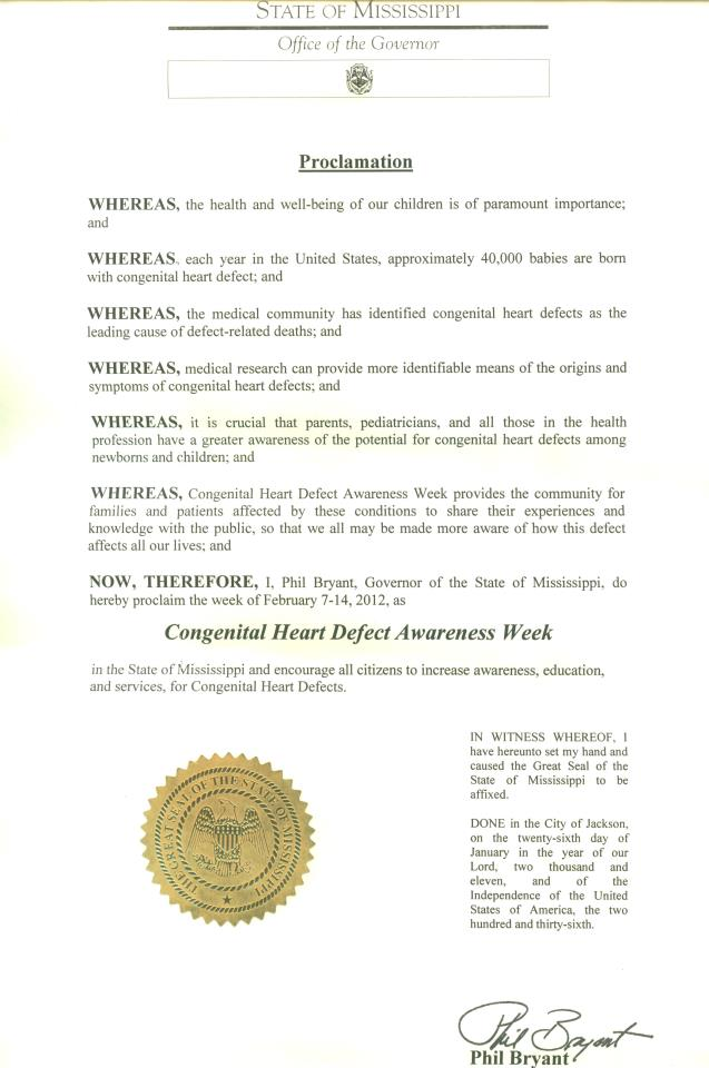 Mississippi CHD Awareness Week Proclamation