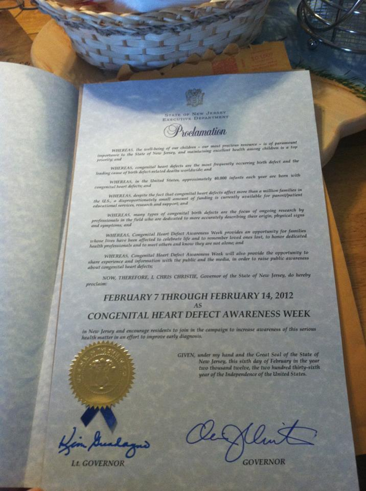 New Jersey CHD Awareness Week Proclamation