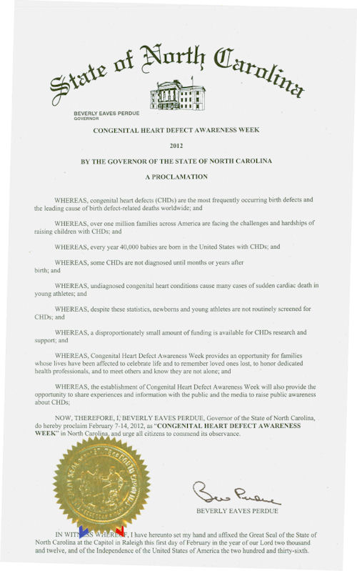 North Carolina CHD Awareness Week Proclamation