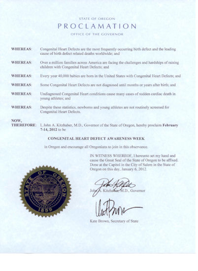 Oregon CHD Awareness Week Proclamation