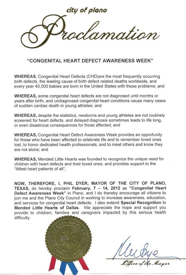 Plano, Texas CHD Awareness Week Proclamation