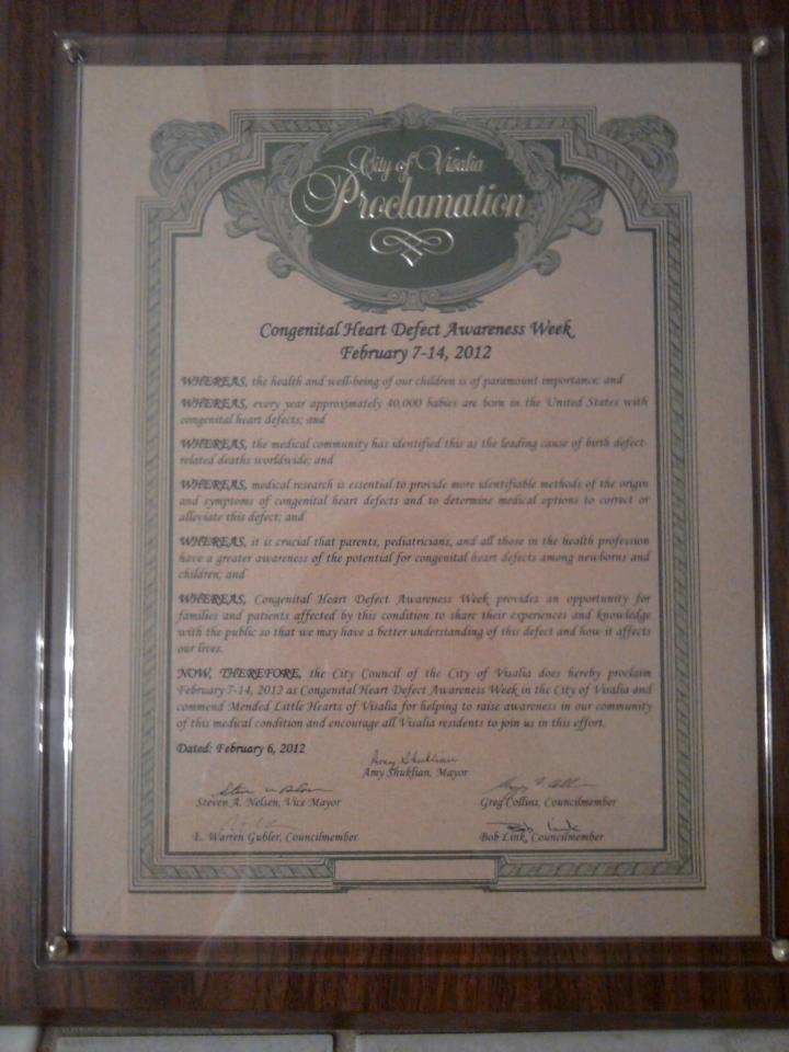 Visalia, California CHD Awareness Week Proclamation
