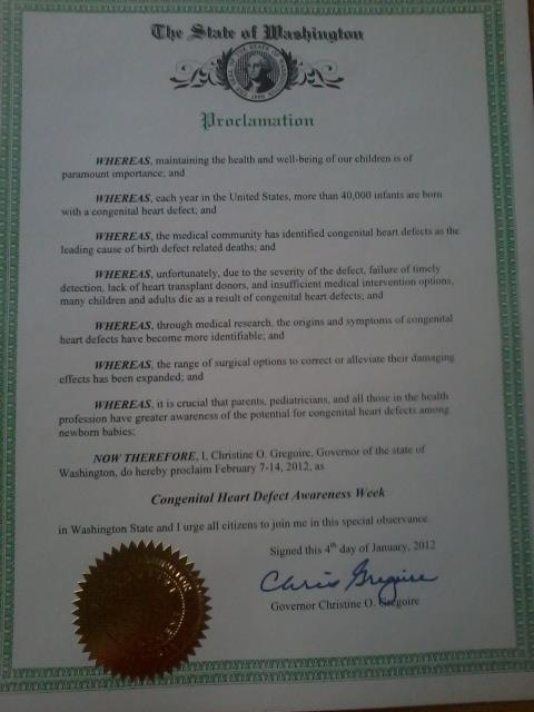 State of Washington CHD Awareness Week Proclamation