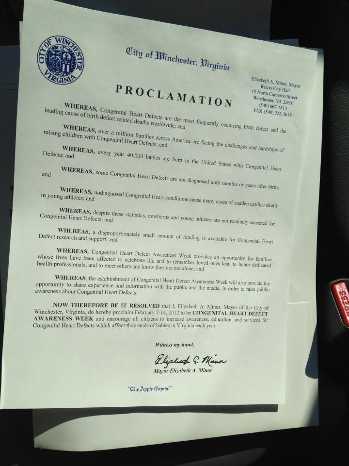 Winchester, Va CHD Awareness Week Proclamation
