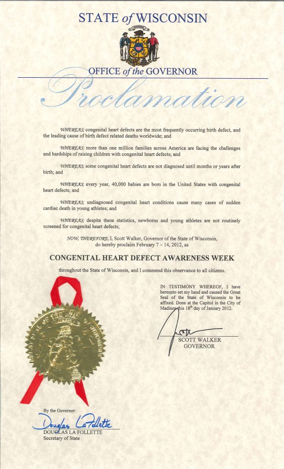 Wisconsin CHD Awareness Week Proclamation